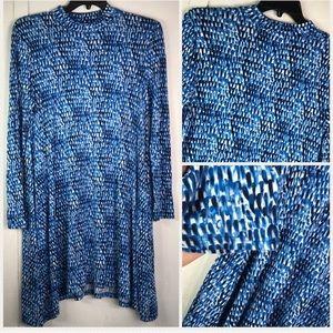 Maeve | blue high neck dress BL MOTIF